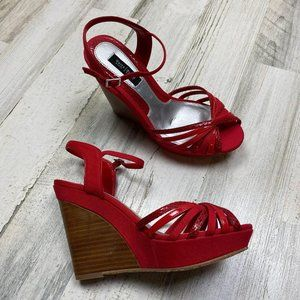 White House Black Market Red Wedge Sandals